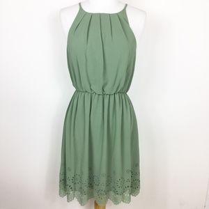 NWT Francescas Blue Rain Green Halter Eyelet Dress